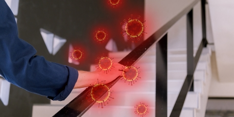 Virus particles on a bannister